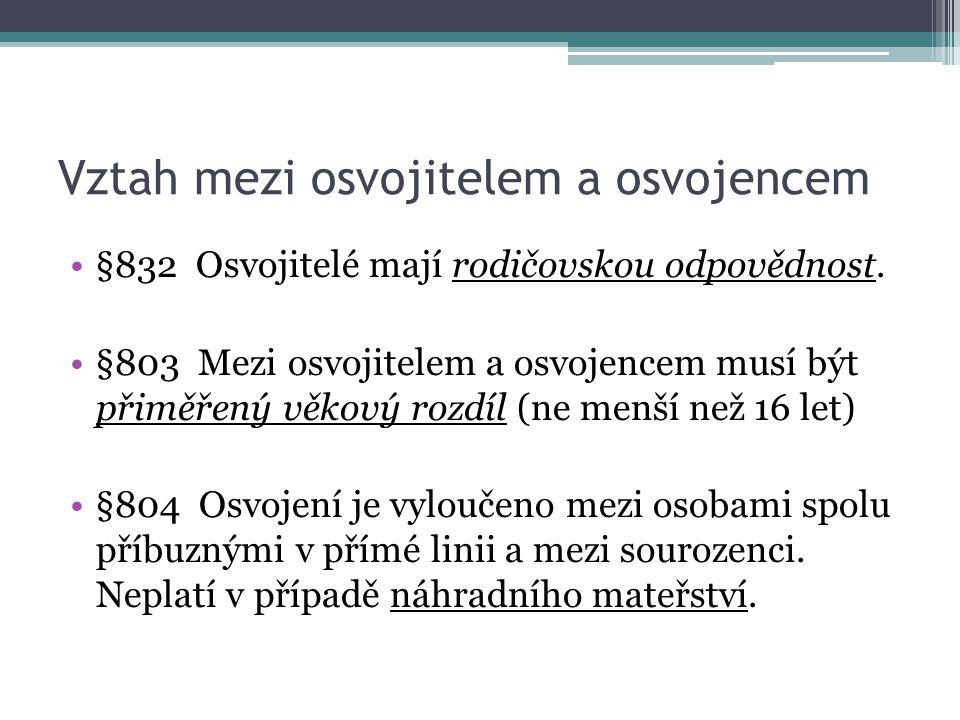 Vztah mezi osvojitelem a osvojencem §832 Osvojitelé mají rodičovskou odpovědnost. §803 Mezi osvojitelem a osvojencem musí být přiměřený věkový rozdíl