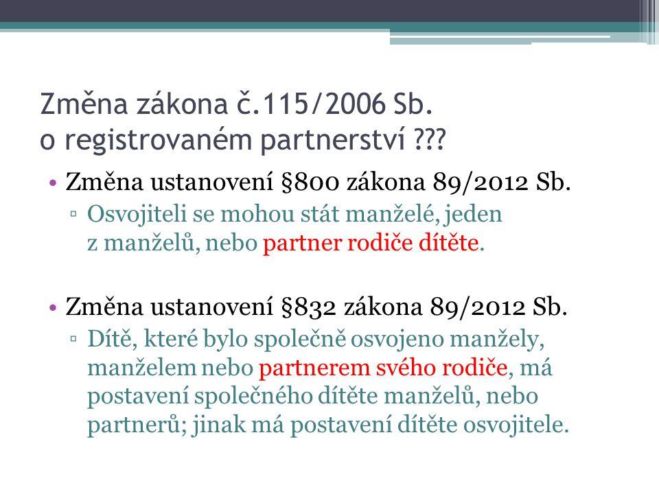 Změna zákona č.115/2006 Sb. o registrovaném partnerství ??? Změna ustanovení §800 zákona 89/2012 Sb. ▫Osvojiteli se mohou stát manželé, jeden z manžel