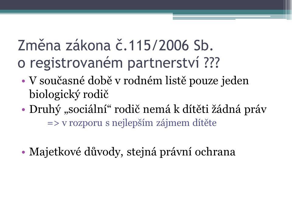 """Změna zákona č.115/2006 Sb. o registrovaném partnerství ??? V současné době v rodném listě pouze jeden biologický rodič Druhý """"sociální"""" rodič nemá k"""