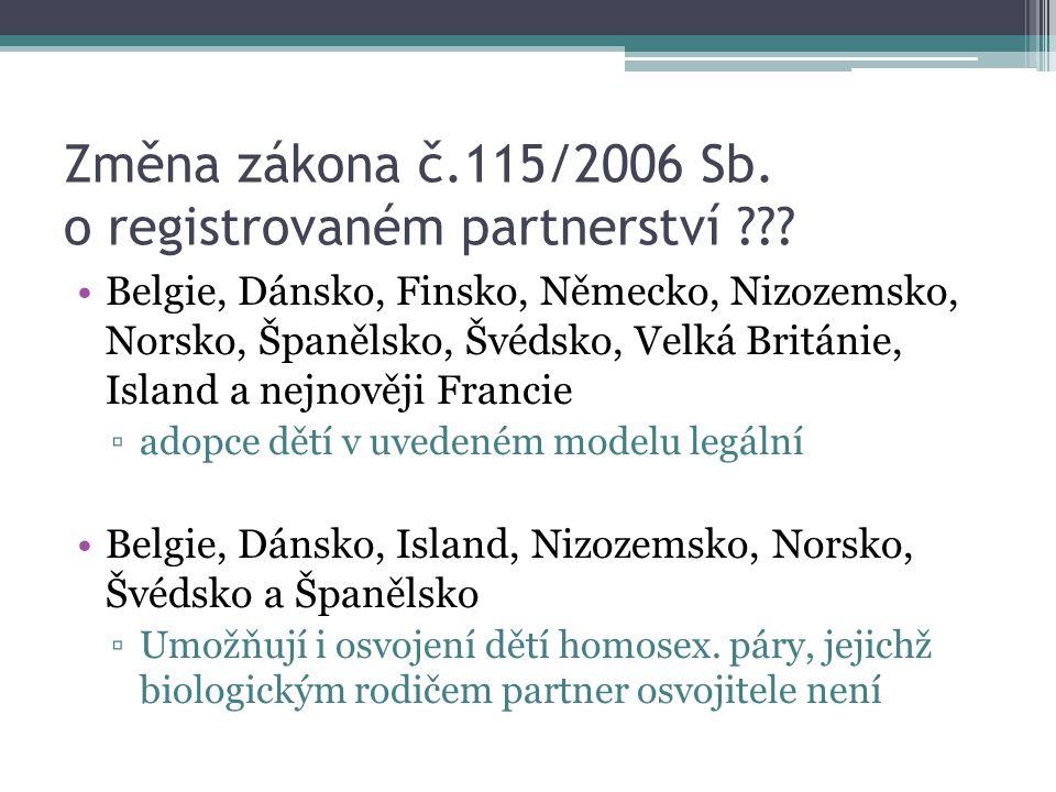 Změna zákona č.115/2006 Sb. o registrovaném partnerství ??? Belgie, Dánsko, Finsko, Německo, Nizozemsko, Norsko, Španělsko, Švédsko, Velká Británie, I