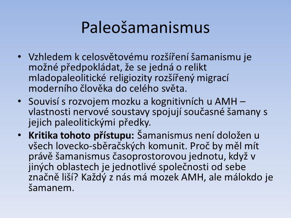 Paleošamanismus Vzhledem k celosvětovému rozšíření šamanismu je možné předpokládat, že se jedná o relikt mladopaleolitické religiozity rozšířený migrací moderního člověka do celého světa.