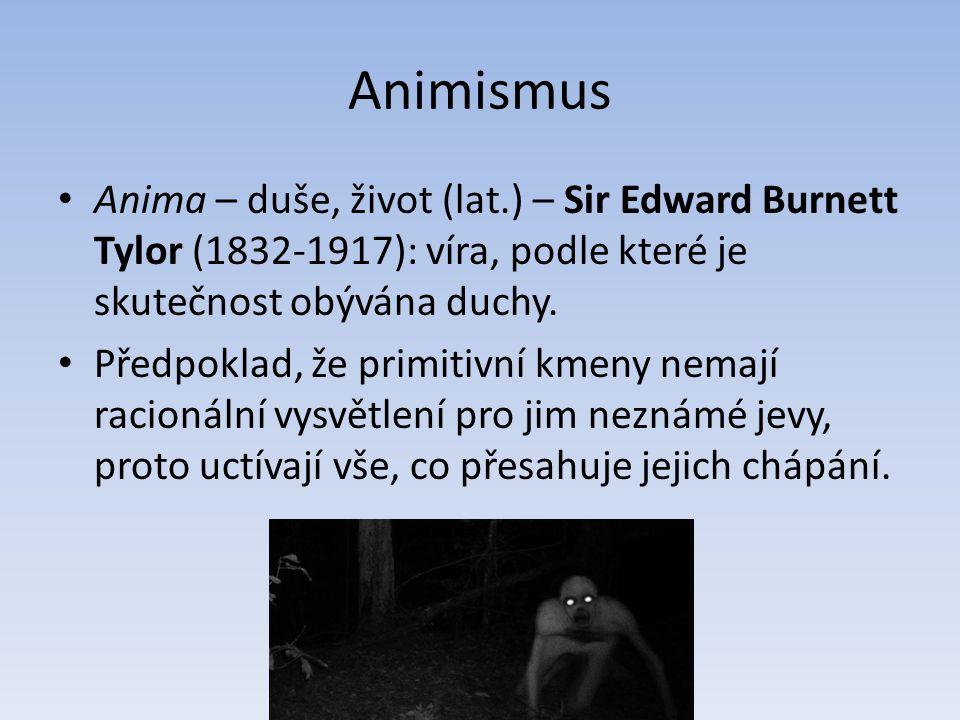 Animismus Anima – duše, život (lat.) – Sir Edward Burnett Tylor (1832-1917): víra, podle které je skutečnost obývána duchy. Předpoklad, že primitivní