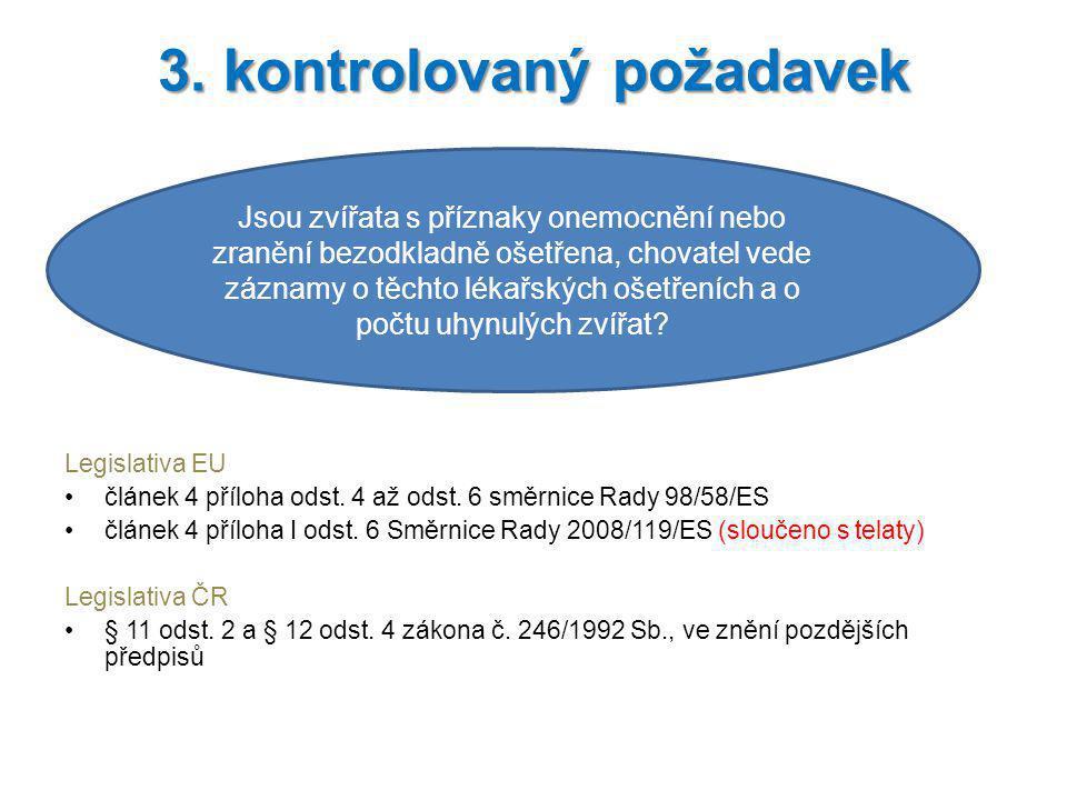 Legislativa EU článek 4 příloha odst. 4 až odst. 6 směrnice Rady 98/58/ES článek 4 příloha I odst. 6 Směrnice Rady 2008/119/ES (sloučeno s telaty) Leg