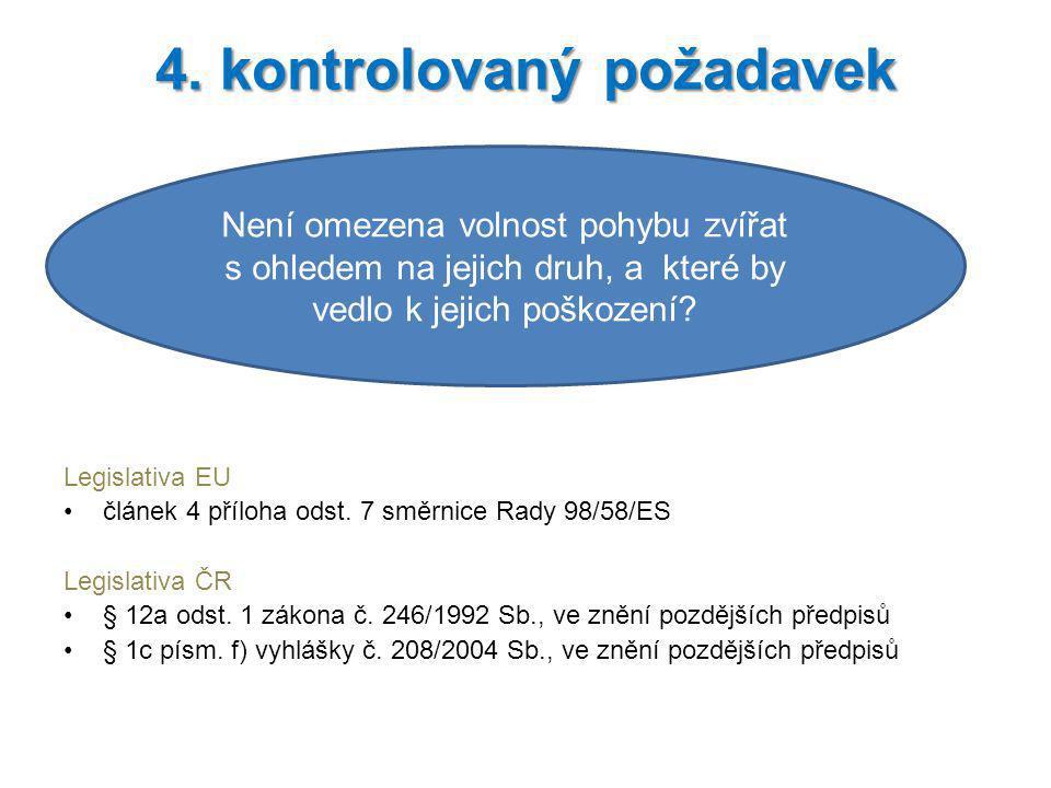 Legislativa EU článek 4 příloha odst. 7 směrnice Rady 98/58/ES Legislativa ČR § 12a odst. 1 zákona č. 246/1992 Sb., ve znění pozdějších předpisů § 1c
