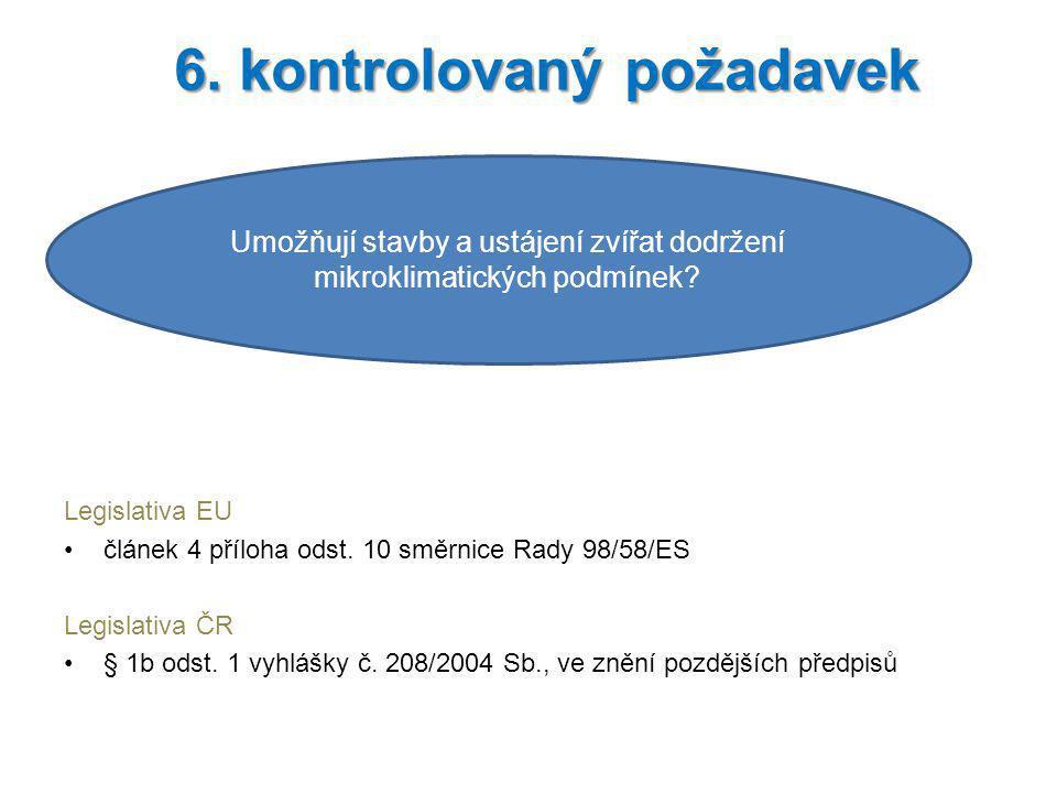 Legislativa EU článek 4 příloha odst. 10 směrnice Rady 98/58/ES Legislativa ČR § 1b odst. 1 vyhlášky č. 208/2004 Sb., ve znění pozdějších předpisů 6.