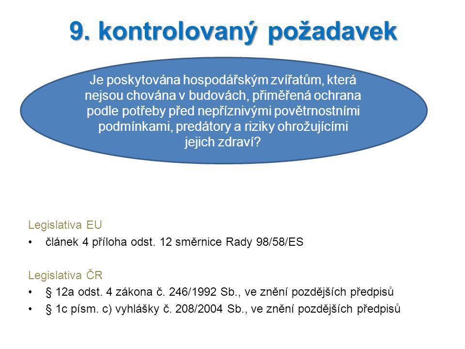 Legislativa EU článek 4 příloha odst. 12 směrnice Rady 98/58/ES Legislativa ČR § 12a odst. 4 zákona č. 246/1992 Sb., ve znění pozdějších předpisů § 1c