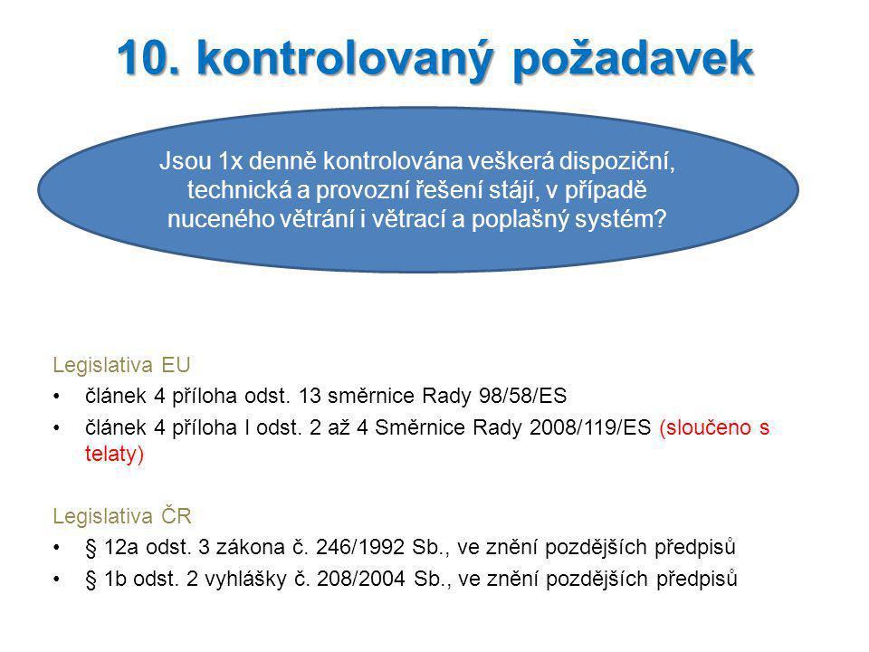 Legislativa EU článek 4 příloha odst. 13 směrnice Rady 98/58/ES článek 4 příloha I odst. 2 až 4 Směrnice Rady 2008/119/ES (sloučeno s telaty) Legislat