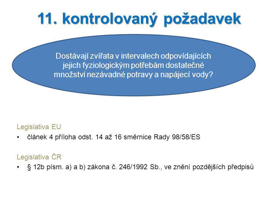 Legislativa EU článek 4 příloha odst. 14 až 16 směrnice Rady 98/58/ES Legislativa ČR § 12b písm. a) a b) zákona č. 246/1992 Sb., ve znění pozdějších p