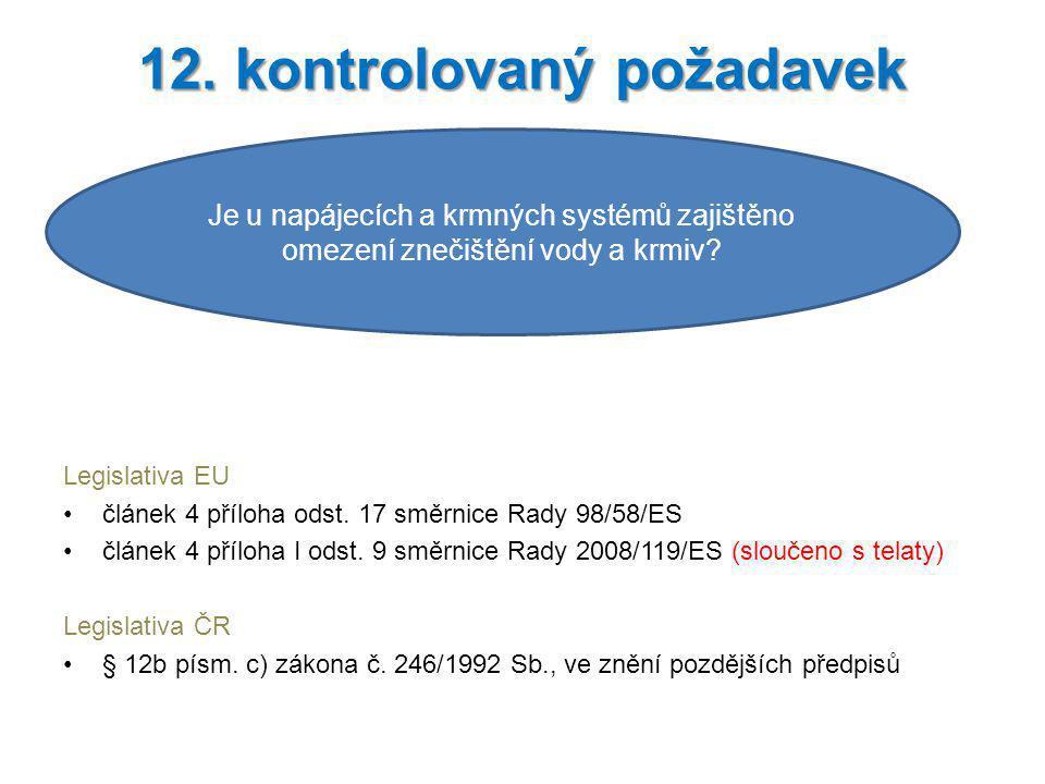 Legislativa EU článek 4 příloha odst. 17 směrnice Rady 98/58/ES článek 4 příloha I odst. 9 směrnice Rady 2008/119/ES (sloučeno s telaty) Legislativa Č