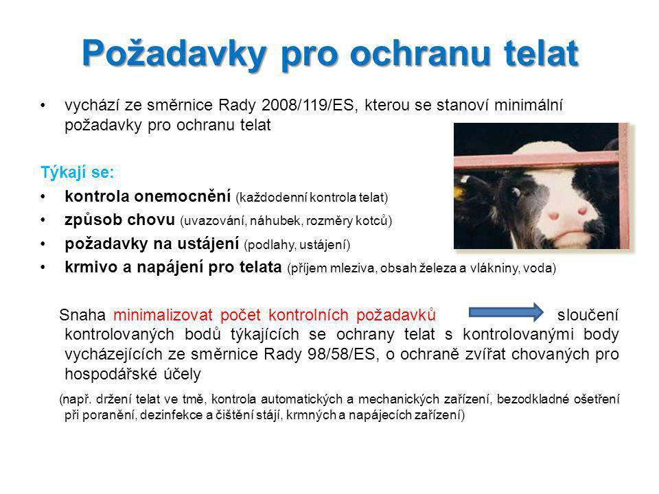 vychází ze směrnice Rady 2008/119/ES, kterou se stanoví minimální požadavky pro ochranu telat Týkají se: kontrola onemocnění (každodenní kontrola tela