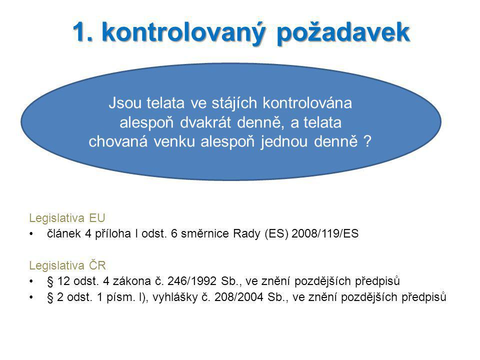 Legislativa EU článek 4 příloha I odst. 6 směrnice Rady (ES) 2008/119/ES Legislativa ČR § 12 odst. 4 zákona č. 246/1992 Sb., ve znění pozdějších předp