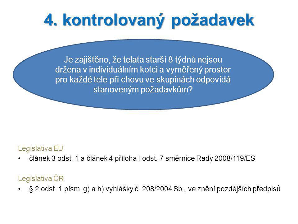 Legislativa EU článek 3 odst. 1 a článek 4 příloha I odst. 7 směrnice Rady 2008/119/ES Legislativa ČR § 2 odst. 1 písm. g) a h) vyhlášky č. 208/2004 S
