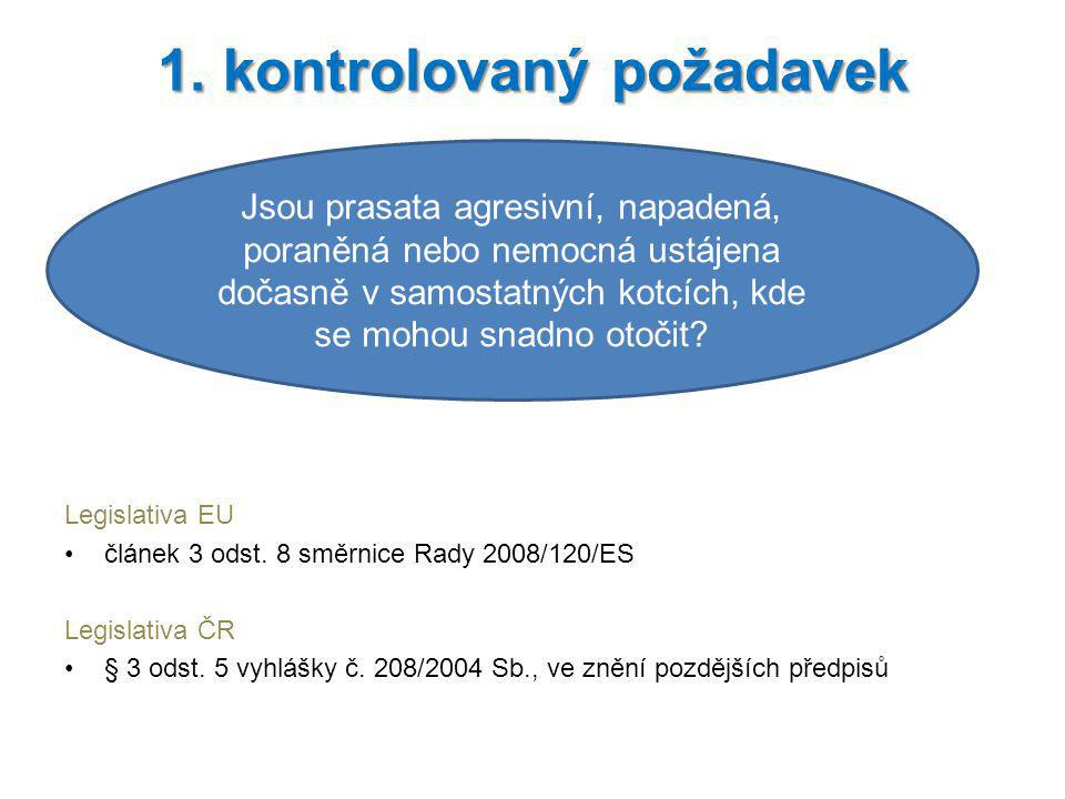 Legislativa EU článek 3 odst. 8 směrnice Rady 2008/120/ES Legislativa ČR § 3 odst. 5 vyhlášky č. 208/2004 Sb., ve znění pozdějších předpisů 1. kontrol