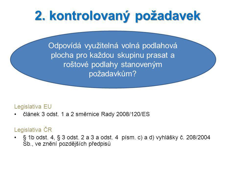 Legislativa EU článek 3 odst. 1 a 2 směrnice Rady 2008/120/ES Legislativa ČR § 1b odst. 4, § 3 odst. 2 a 3 a odst. 4 písm. c) a d) vyhlášky č. 208/200