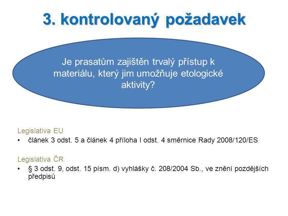 Legislativa EU článek 3 odst. 5 a článek 4 příloha I odst. 4 směrnice Rady 2008/120/ES Legislativa ČR § 3 odst. 9, odst. 15 písm. d) vyhlášky č. 208/2