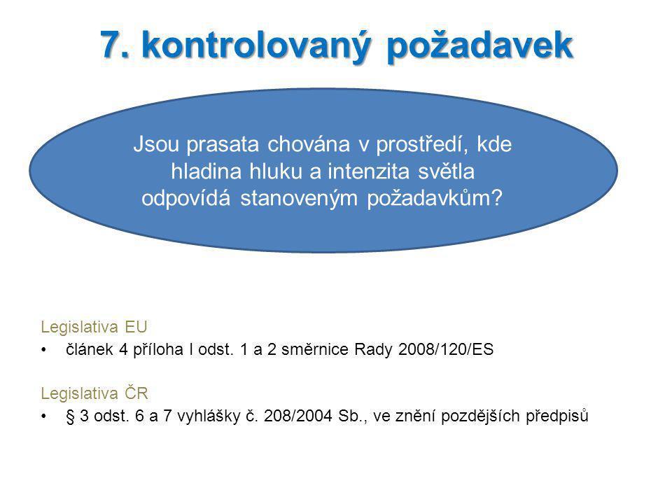 Legislativa EU článek 4 příloha I odst. 1 a 2 směrnice Rady 2008/120/ES Legislativa ČR § 3 odst. 6 a 7 vyhlášky č. 208/2004 Sb., ve znění pozdějších p