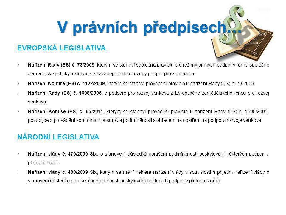 EVROPSKÁ LEGISLATIVA Nařízení Rady (ES) č. 73/2009, kterým se stanoví společná pravidla pro režimy přimých podpor v rámci společné zemědělské politiky