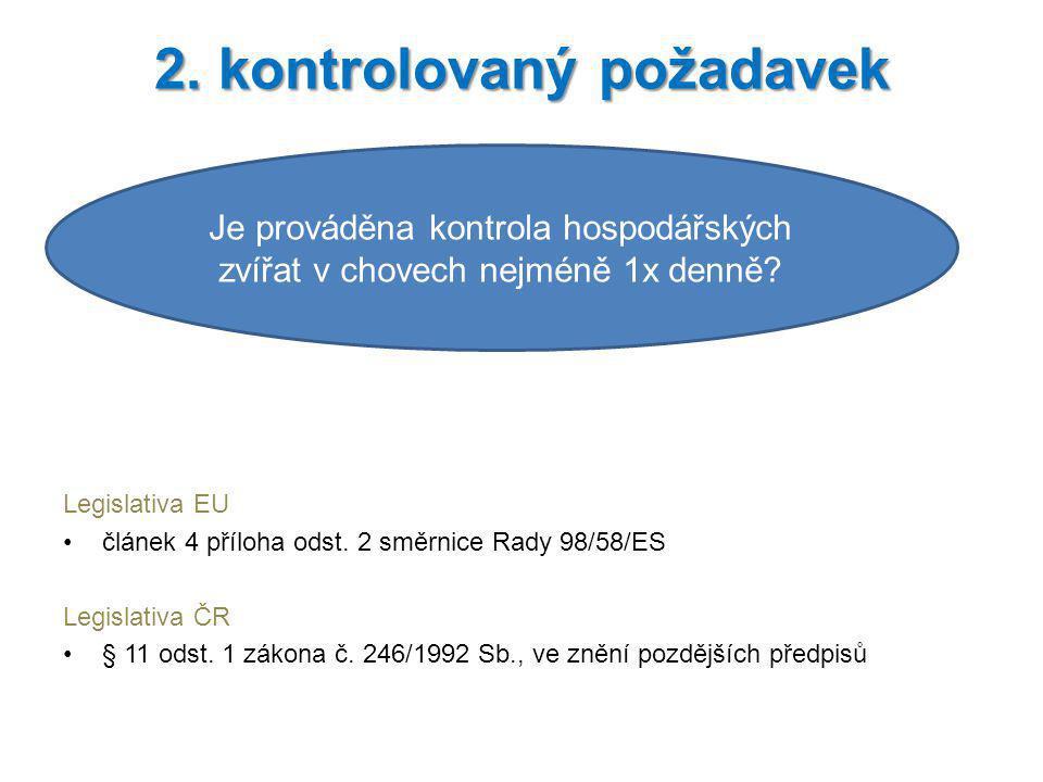 Legislativa EU článek 4 příloha odst. 2 směrnice Rady 98/58/ES Legislativa ČR § 11 odst. 1 zákona č. 246/1992 Sb., ve znění pozdějších předpisů 2. kon