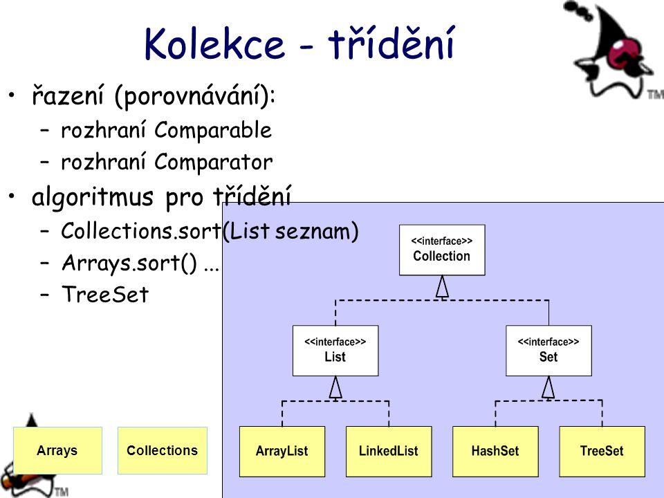 Kolekce - třídění řazení (porovnávání): –rozhraní Comparable –rozhraní Comparator algoritmus pro třídění –Collections.sort(List seznam) –Arrays.sort()