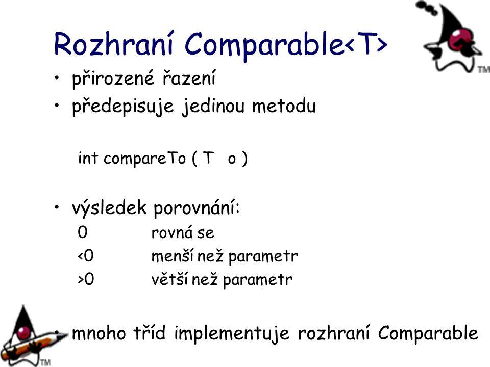 Rozhraní Comparable přirozené řazení předepisuje jedinou metodu int compareTo ( T o ) výsledek porovnání: 0rovná se <0menší než parametr >0větší než p