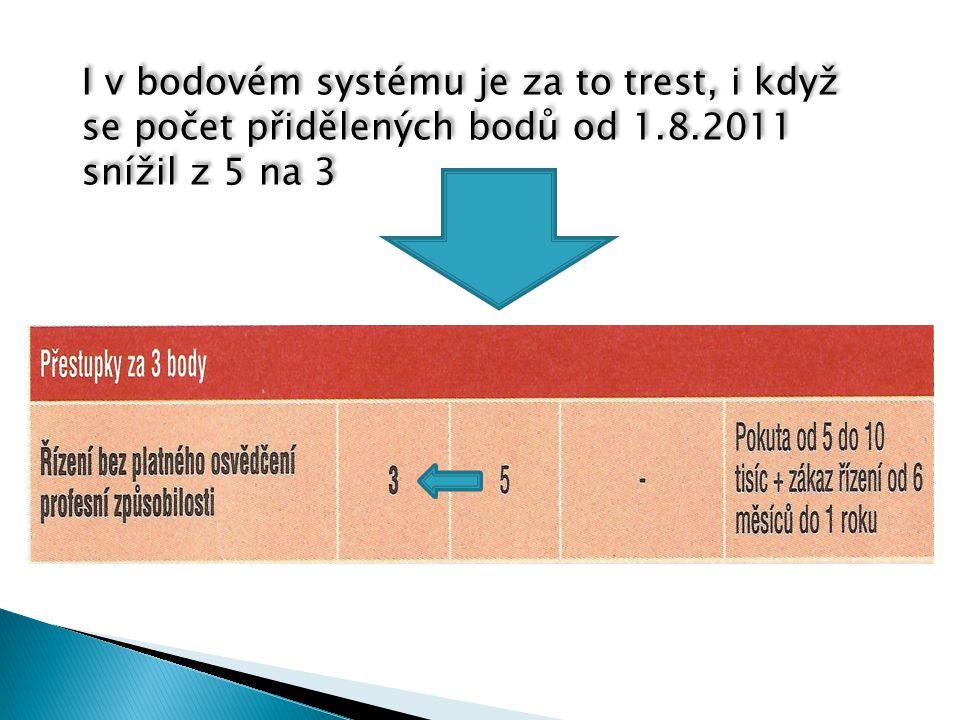 I v bodovém systému je za to trest, i když se počet přidělených bodů od 1.8.2011 snížil z 5 na 3