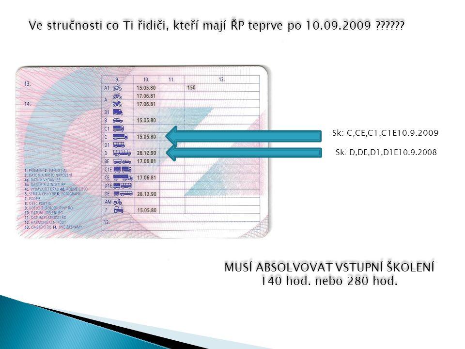 Ve stručnosti co Ti řidiči, kteří mají ŘP teprve po 10.09.2009 ?????.