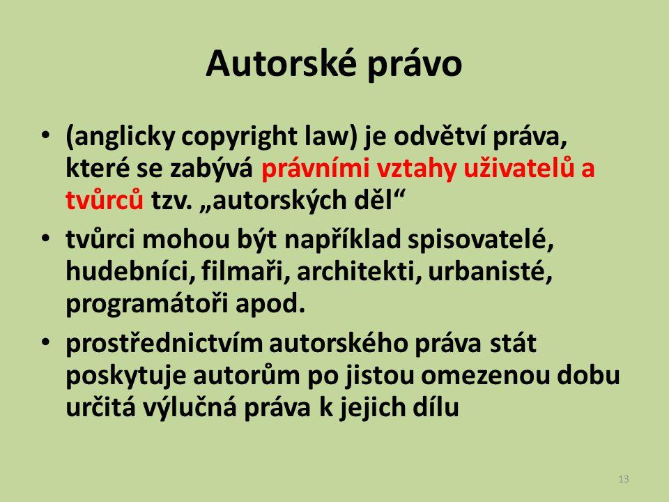 """Autorské právo (anglicky copyright law) je odvětví práva, které se zabývá právními vztahy uživatelů a tvůrců tzv. """"autorských děl"""" tvůrci mohou být na"""