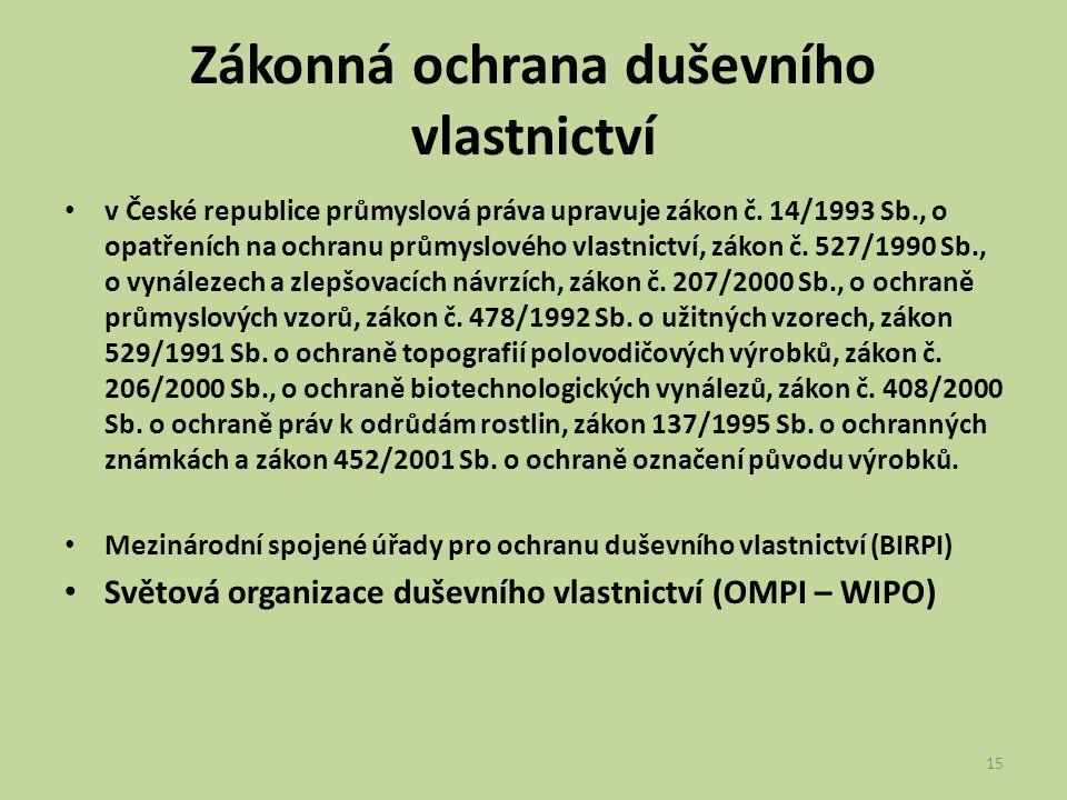 Zákonná ochrana duševního vlastnictví v České republice průmyslová práva upravuje zákon č. 14/1993 Sb., o opatřeních na ochranu průmyslového vlastnict