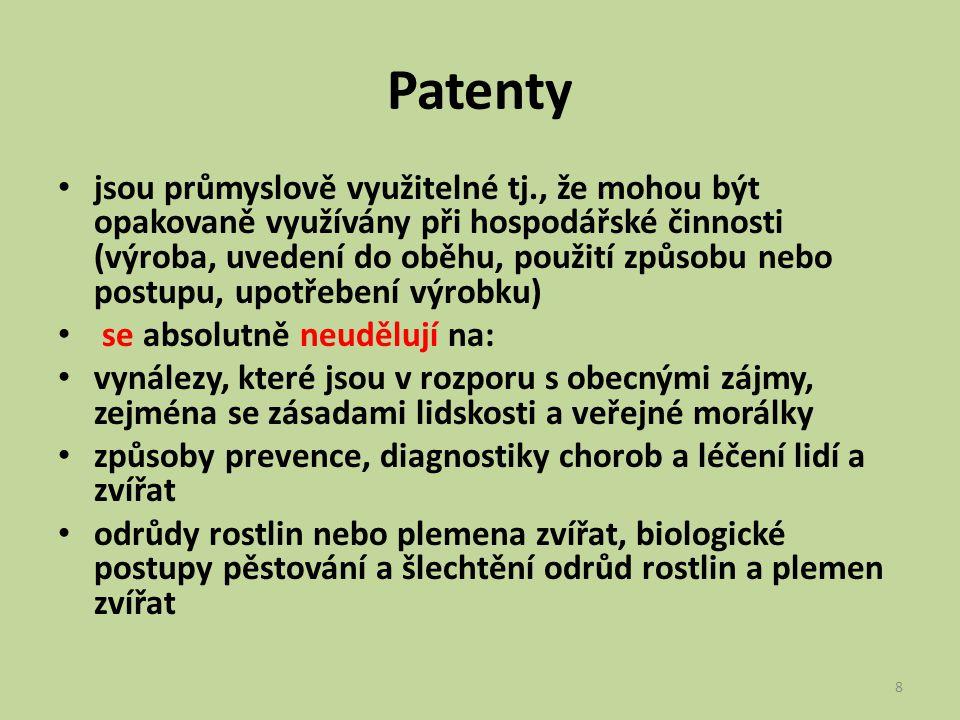 Patenty jsou průmyslově využitelné tj., že mohou být opakovaně využívány při hospodářské činnosti (výroba, uvedení do oběhu, použití způsobu nebo post