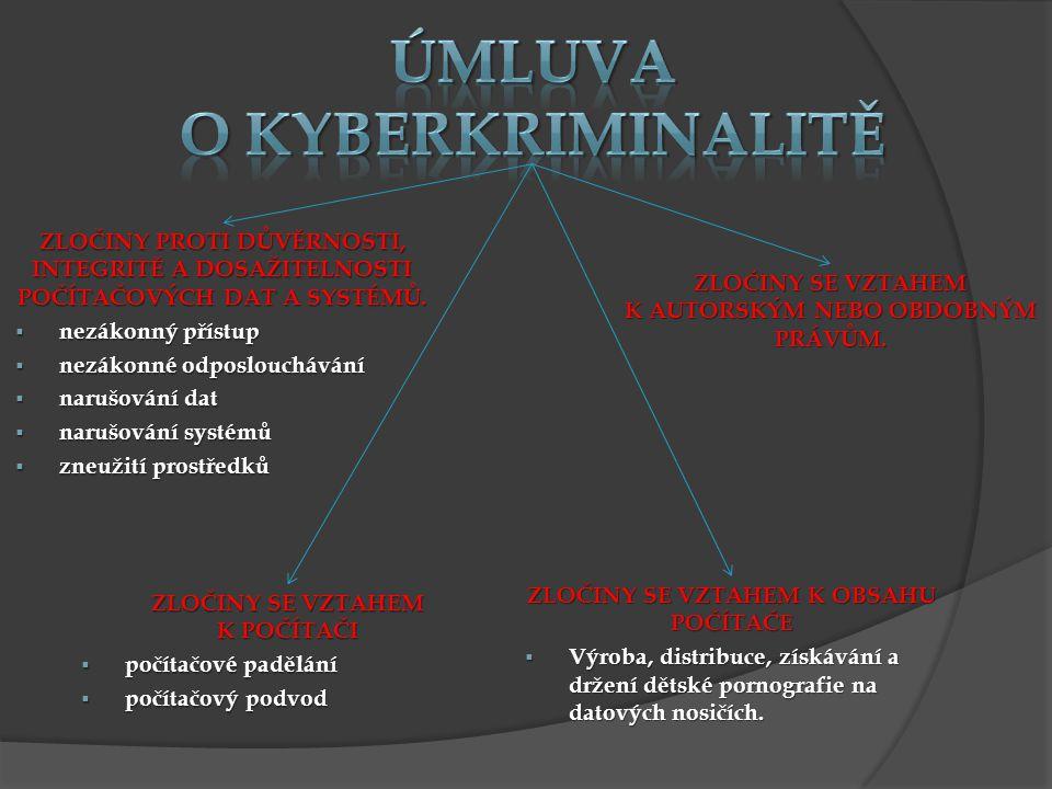 ZLOČINY PROTI DŮVĚRNOSTI, INTEGRITĚ A DOSAŽITELNOSTI POČÍTAČOVÝCH DAT A SYSTÉMŮ.  nezákonný přístup  nezákonné odposlouchávání  narušování dat  na