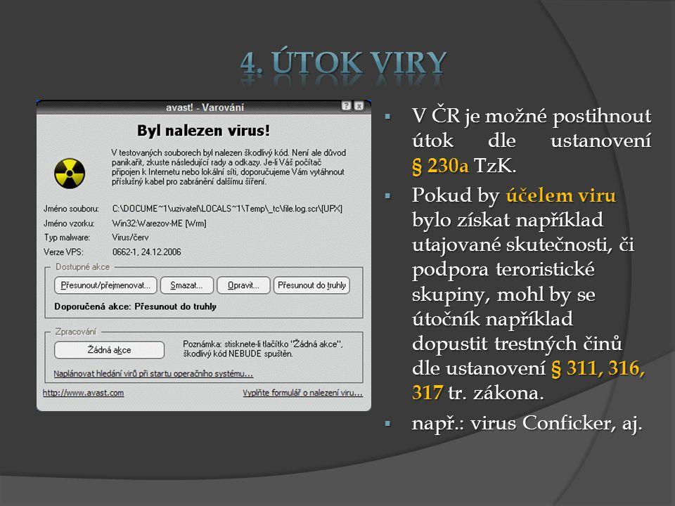  V ČR je možné postihnout útok dle ustanovení § 230a TzK.  Pokud by účelem viru bylo získat například utajované skutečnosti, či podpora teroristické