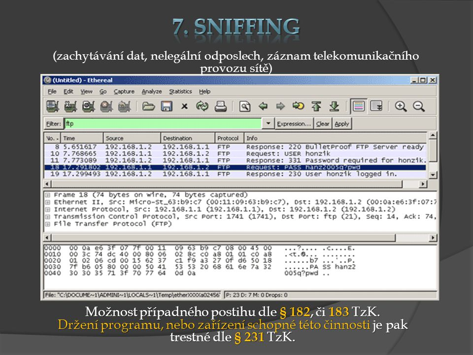 Možnost případného postihu dle § 182, či 183 TzK. Držení programu, nebo zařízení schopné této činnosti je pak trestné dle § 231 TzK. (zachytávání dat,
