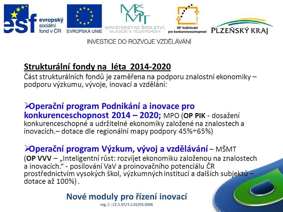 Nové moduly pro řízení inovací reg. č.: CZ.1.07/3.2.02/03.0006 Strukturální fondy na léta 2014-2020 Část strukturálních fondů je zaměřena na podporu z