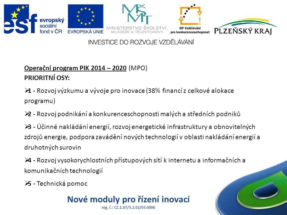 Nové moduly pro řízení inovací reg. č.: CZ.1.07/3.2.02/03.0006 Operační program PIK 2014 – 2020 (MPO) PRIORITNÍ OSY:  1 - Rozvoj výzkumu a vývoje pro