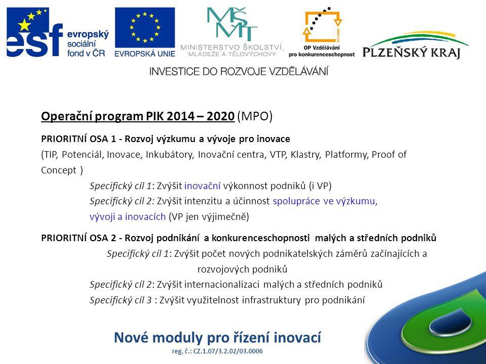 Nové moduly pro řízení inovací reg. č.: CZ.1.07/3.2.02/03.0006 Operační program PIK 2014 – 2020 (MPO) PRIORITNÍ OSA 1 - Rozvoj výzkumu a vývoje pro in