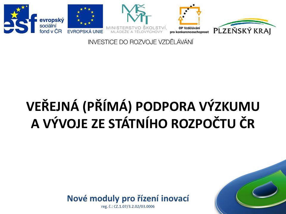 Nové moduly pro řízení inovací reg. č.: CZ.1.07/3.2.02/03.0006 VEŘEJNÁ (PŘÍMÁ) PODPORA VÝZKUMU A VÝVOJE ZE STÁTNÍHO ROZPOČTU ČR