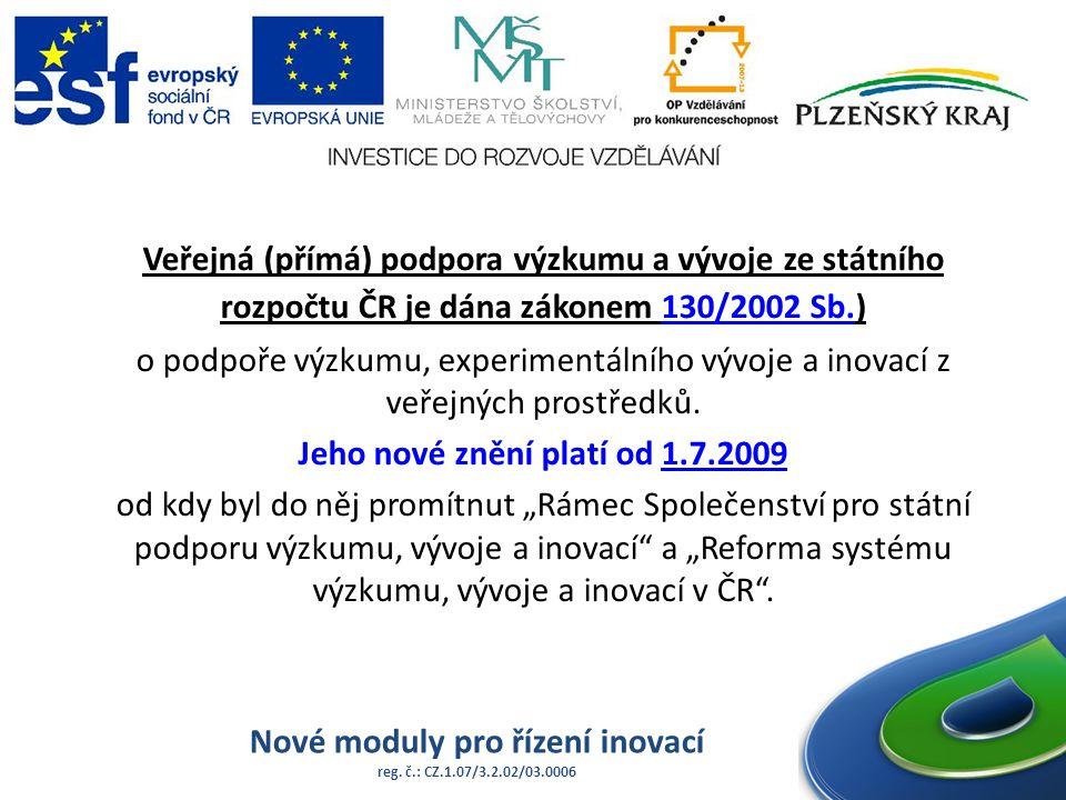 Nové moduly pro řízení inovací reg. č.: CZ.1.07/3.2.02/03.0006 Veřejná (přímá) podpora výzkumu a vývoje ze státního rozpočtu ČR je dána zákonem 130/20
