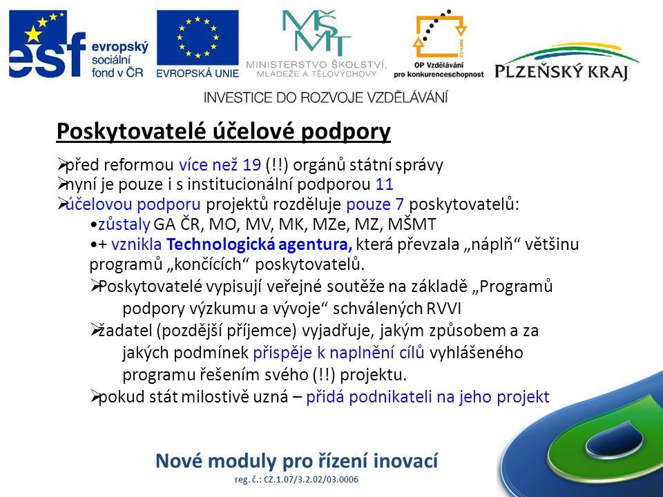 Nové moduly pro řízení inovací reg. č.: CZ.1.07/3.2.02/03.0006 Poskytovatelé účelové podpory  před reformou více než 19 (!!) orgánů státní správy  n