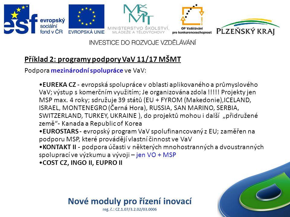 Nové moduly pro řízení inovací reg. č.: CZ.1.07/3.2.02/03.0006 Příklad 2: programy podpory VaV 11/17 MŠMT Podpora mezinárodní spolupráce ve VaV: EUREK
