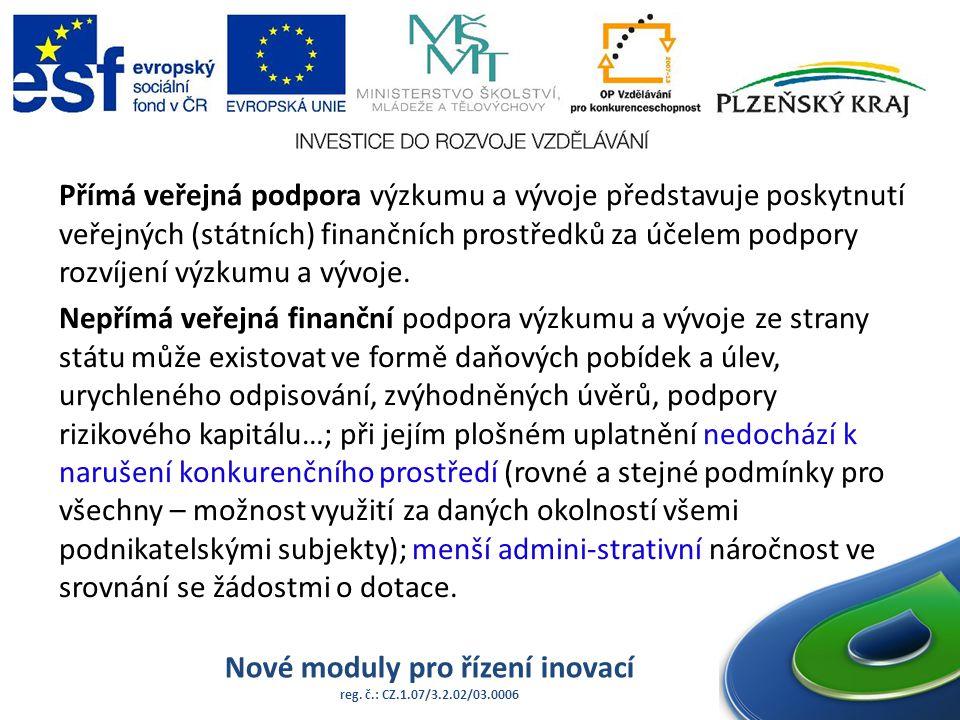 Nové moduly pro řízení inovací reg. č.: CZ.1.07/3.2.02/03.0006 Přímá veřejná podpora výzkumu a vývoje představuje poskytnutí veřejných (státních) fina