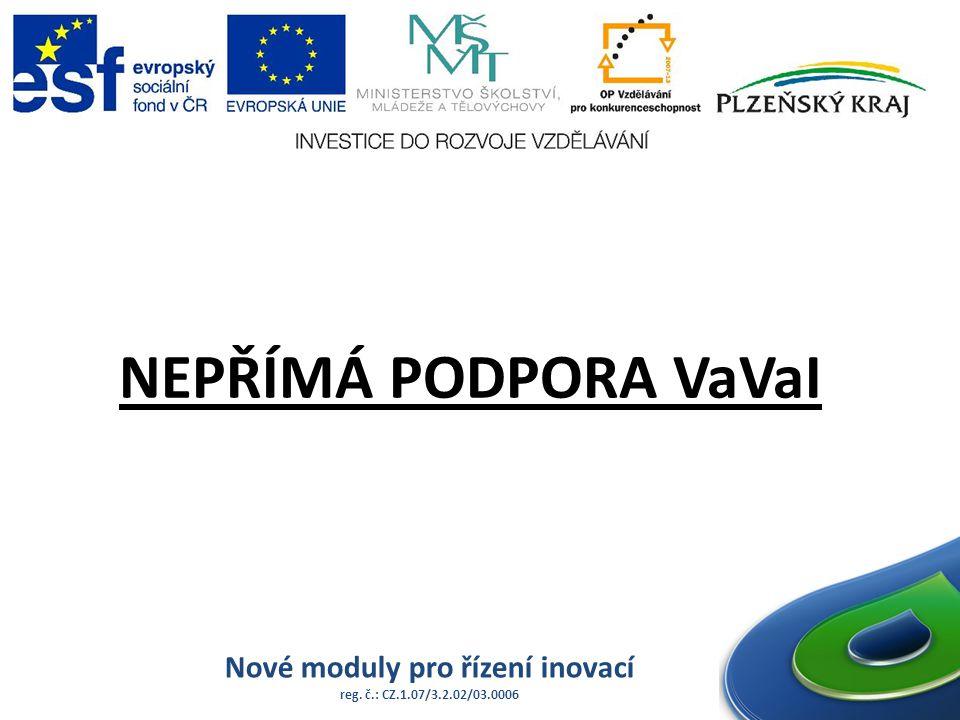 Nové moduly pro řízení inovací reg. č.: CZ.1.07/3.2.02/03.0006 NEPŘÍMÁ PODPORA VaVaI