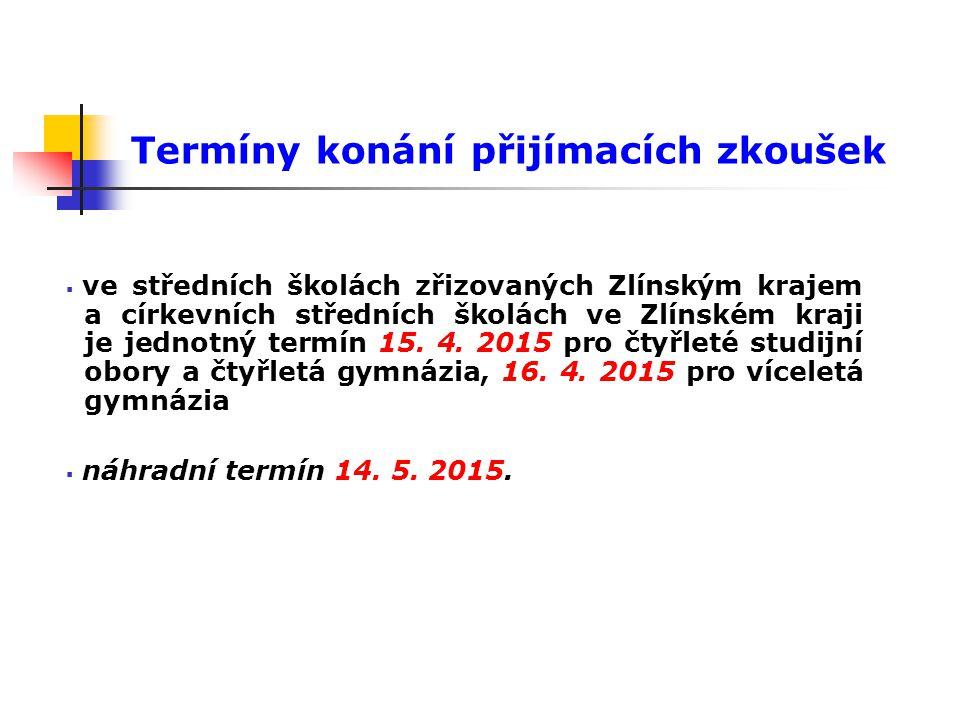 Termíny konání přijímacích zkoušek  ve středních školách zřizovaných Zlínským krajem a církevních středních školách ve Zlínském kraji je jednotný ter