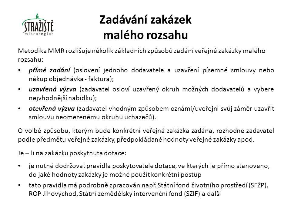 V metodice Ministerstva pro místní rozvoj, která platila cca do poloviny roku 2013, byla stanovena pro zakázky malého rozsahu následující pravidla: a)zakázka na dodávky a služby do předpokládané hodnoty 200 tis.