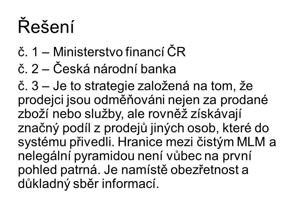 Řešení č. 1 – Ministerstvo financí ČR č. 2 – Česká národní banka č.