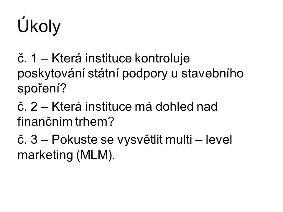 Řešení č.1 – Ministerstvo financí ČR č. 2 – Česká národní banka č.