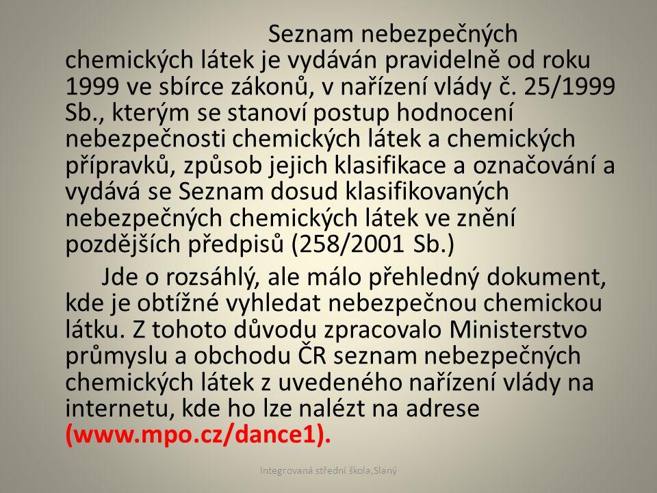 Seznam nebezpečných chemických látek je vydáván pravidelně od roku 1999 ve sbírce zákonů, v nařízení vlády č. 25/1999 Sb., kterým se stanoví postup ho