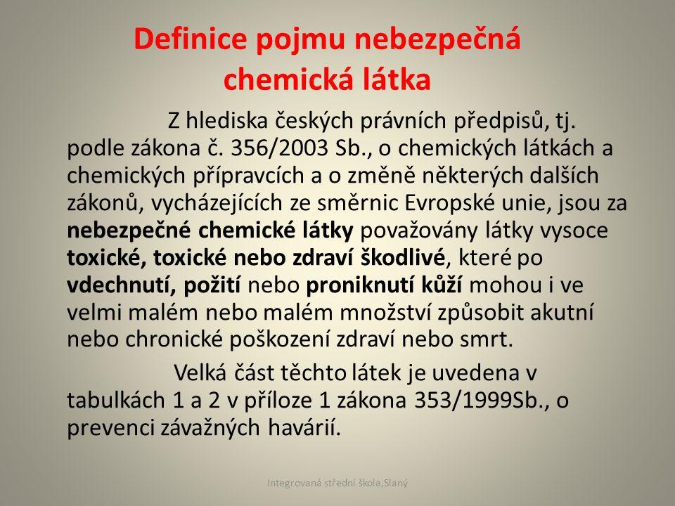 Z hlediska českých právních předpisů, tj. podle zákona č. 356/2003 Sb., o chemických látkách a chemických přípravcích a o změně některých dalších záko