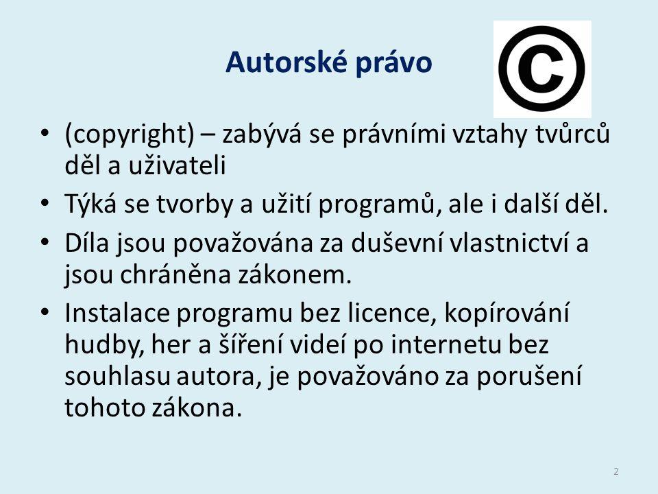 Autorské právo (copyright) – zabývá se právními vztahy tvůrců děl a uživateli Týká se tvorby a užití programů, ale i další děl.