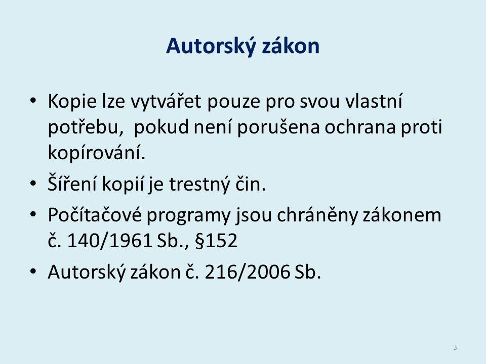 Autorský zákon Kopie lze vytvářet pouze pro svou vlastní potřebu, pokud není porušena ochrana proti kopírování.