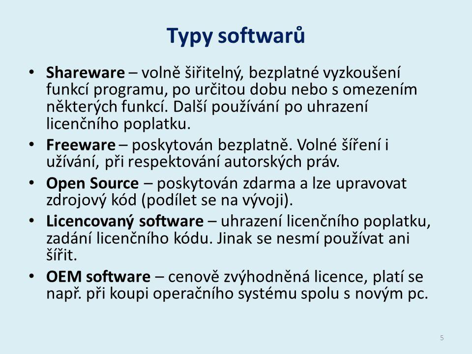 Typy softwarů Shareware – volně šiřitelný, bezplatné vyzkoušení funkcí programu, po určitou dobu nebo s omezením některých funkcí.
